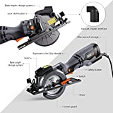 """Circular Saw 4-3/4"""", 5.8A, Laser Guide, Max Cutting Depth 1-9/10'' (90°), 1-3/10'' (0°-45°), 6 Blades, Compact Handheld Design for Wood, Metal, Tile and Plastics Cuts-TCS115A"""