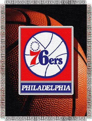 Officially Licensed NBA Philadelphia 76ers Photo Real Woven Tapestry Throw Blanket, 48