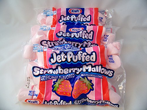 Kraft Jet-Puffed Strawberry Marshmallows 8oz Bag (Pack of 3) Pink (Pink Marshmallows)