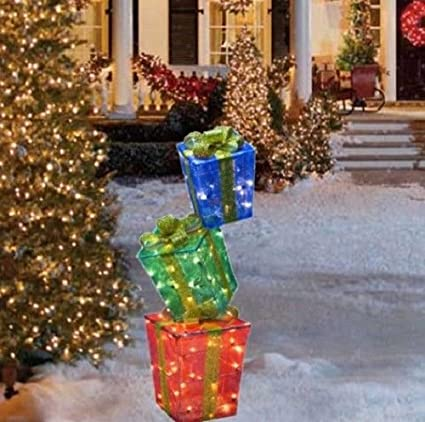 Christmas Presents.50 Stacked Christmas Presents Gift Box Stacker Sculpture Outdoor Yard Lawn Holiday Decoration