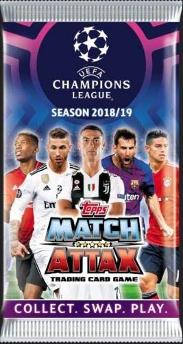 2018/2019 Topps UEFA CHAMPIONS LEAGUE Match Attax Soccer Cards Box. FREE SHIPPING! 30 6 Card Packs (180 Cards). USA SELLER! Look for stars like Messi,Ronaldo,Neymar,Pulisic,Kane,Griezmann +++