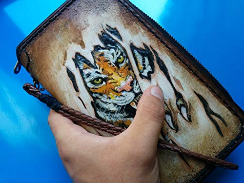 Men's 3D Genuine Leather Wallet, Long wallet, Travel wallet, Biker wallet, Clutch wallet, Hand-Carved, Hand-Painted, Leather Carving, Custom wallet, Personalized wallet, Bengal Tiger - Tiger Leather Clutch