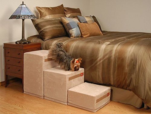 PuppyStairs 3-Step- Oyster Suede. All covers are removable, machine washable; Foam is Industrial grade high-density foam, which firmly supports Pets up to 60 pounds by PuppyStairs