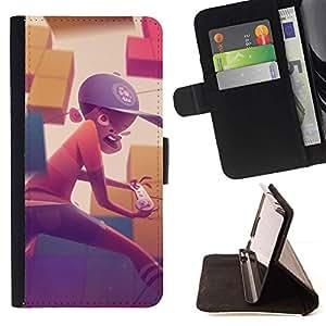 Momo Phone Case / Flip Funda de Cuero Case Cover - Pintura Boy Gaming Computer Sombrero Arte Niño - Apple Iphone 6