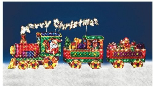 Outdoor Lighted Christmas Train Holographic Yard - 2