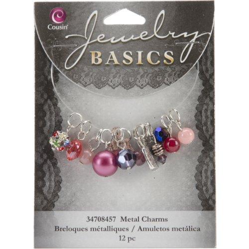 Cousin Jewelry Basics 12-Piece Glass/Metal Bead Cluster - Glass Basic Beads
