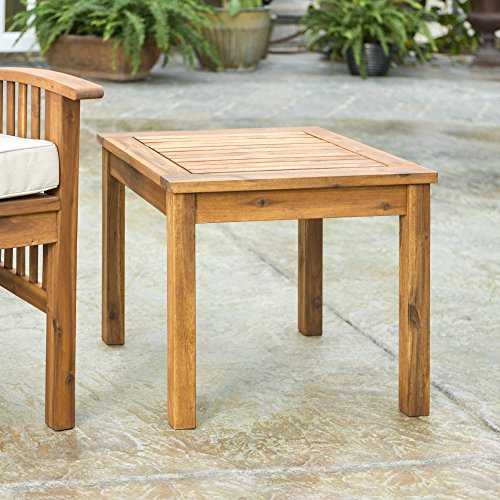 Walker Edison Furniture Company AZWSSTBR Modern Outdoor Patio Wood Side Square End Table All Weather Backyard Conversation Garden Poolside Balcony, 20 Inch, Brown