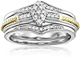 18K Yellow Gold Plating over Sterling Silver Diamond Marquise Cluster Bridal Ring, Size 6 (1/5cttw)