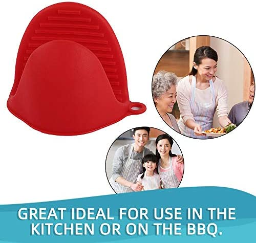 Mouchao4762 Silikon-Verbrühungsschutzhandschuhe Geschirrhalter Küchenschüssel Backofen rot