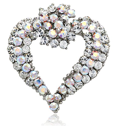 Akianna Antique Silver-tone Swarovski Element Crystals Valentine Heart Pin Brooch