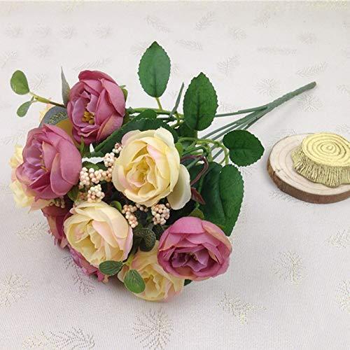 CoronationSun - Tea Rose Silk - 10head/Bouquet Artificial Silk Flower Tea Rose Silk Flower Wedding Home Decoration