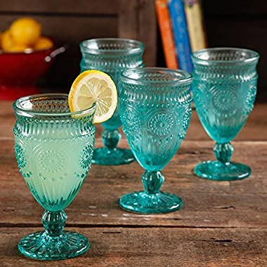 The Pioneer Woman Adeline Embossed 12-Ounce Footed Glass Goblets, Set of 4 (Turquoise)