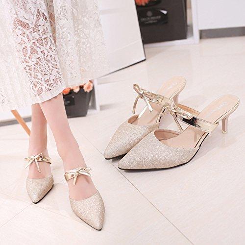 Haut Baotou Pantoufles Chaussures Mince lgant De Et 620 Talons Polyvalent Pointe Or Cool Demi Hauts Temprament Talon t 35 Filles PR8qYBaw