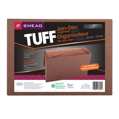 Smead TUFF Expanding File, Monthly (Jan.-Dec.), 12 Pockets, Flap and Elastic Cord Closure, Legal Size, Redrope-Printed Stock (70390)