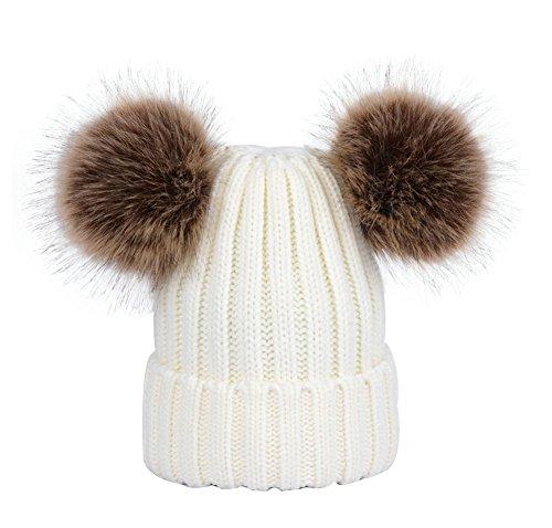 wanture Winter Women's Winter Knit Wool Beanie Hat with Double Faux Fur Pom Pom Ears ()