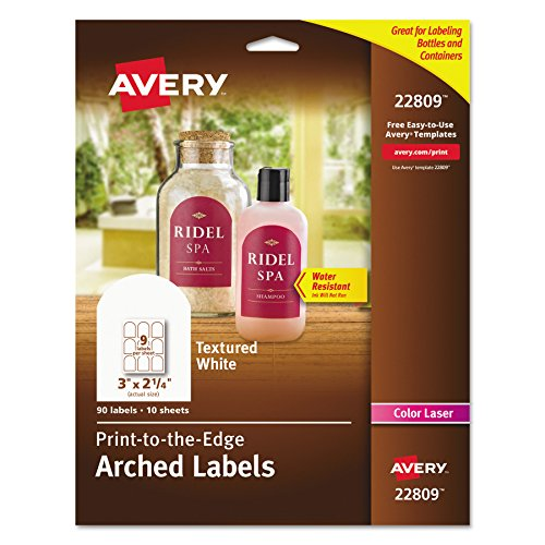 Avery Textured Print-To-The-Edge Arched Labels, Laser Printers, 3 x 2.25-Inches, White, Pack of 90 (White Logo Arch)