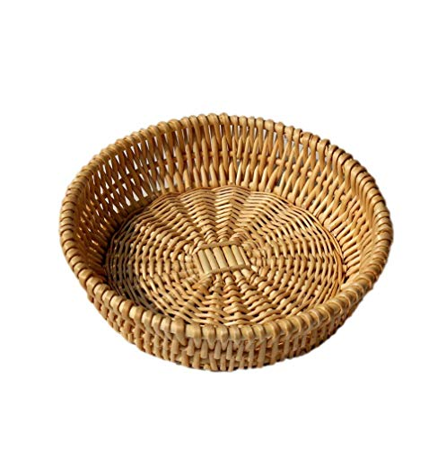 - Round Wicker Basket Fruit Bread Tray Storage Basket Willow Handwoven Basket,Natural Color