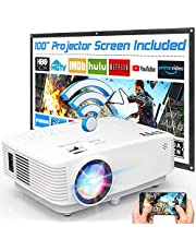 WiFi Projector, TMY Projector 5500 Lumen with 100″ Screen, Mini Projector Supports 1080P Full HD, Portable Outdoor Projector Compatible with TV Stick Smartphone Tablet HDMI USB AV for Outdoor Movies. photo