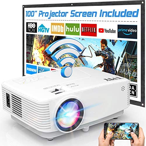 WiFi Projector, TMY Projector 5500 Lumen with 100″ Screen, Mini Projector Supports 1080P Full HD, Portable Outdoor Projector Compatible with TV Stick Smartphone Tablet HDMI USB AV for Outdoor Movies.