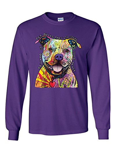 Beware of Pitbulls Long Sleeve T-Shirt Dean Russo Colorful Pet Dog Lovers Tee Purple M ()