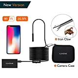 【New Version】Wireless Endoscope Camera, Ilihome 1200P Wifi Inspection Camera with 5M(16.5FT) Semi-rigid Cable Snake Camera, Sony Sensor 8 LEDs Waterproof Lens Borescope for IOS Android Windows Device