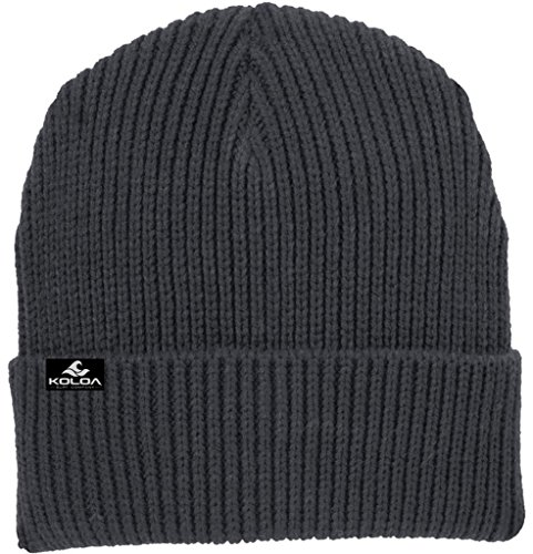 Joe's USA Koloa Surf Heavyweight Watch Hat Knit Ribbed Beanie Cap Graphite