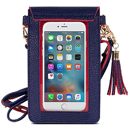 MoKo Cell Phone Bag, PU Leather Crossbody Bag Mini Phone Pouch with Shoulder Strap for iPhone X, 8, 8 Plus, 7 Plus, 6S Plus, 6 Plus, 7, 6S, 6, 5S, 5C, Samsung S8, S7 Edge, S6, J3, J7, Indigo+Red - Edge Leather Shoulder Bag