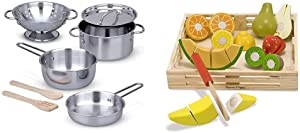 Melissa & Doug Stainless Steel Pots & Pans Play Set & Cutting Fruit