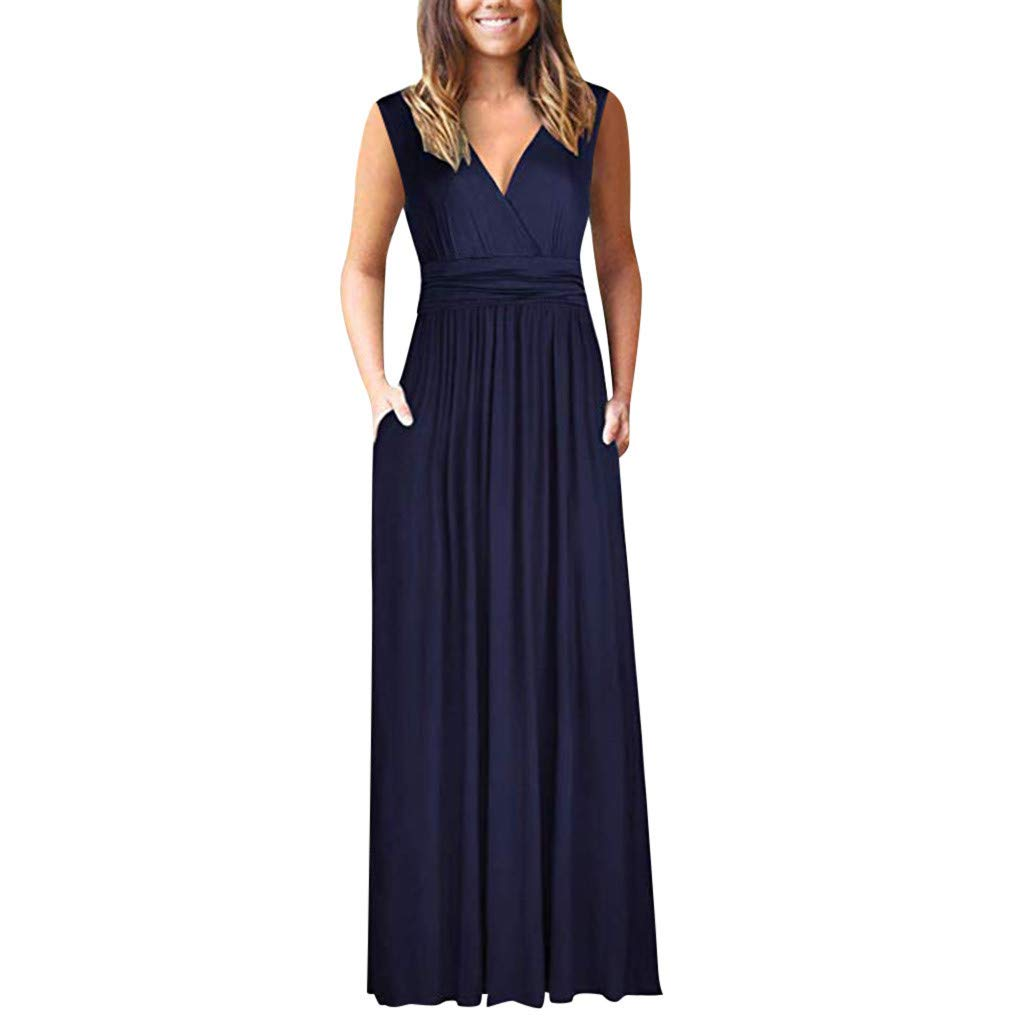 ZOMUSAR Fashion Women's Round Neck Solid Shortsleeve Maxi Dresses Casual Long Dresse with Pocket for Ladies Navy