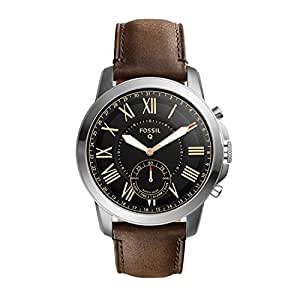 Fossil Men's Q Grant Hybrid Smartwatch Dark Brown Watch, (FTW1156)