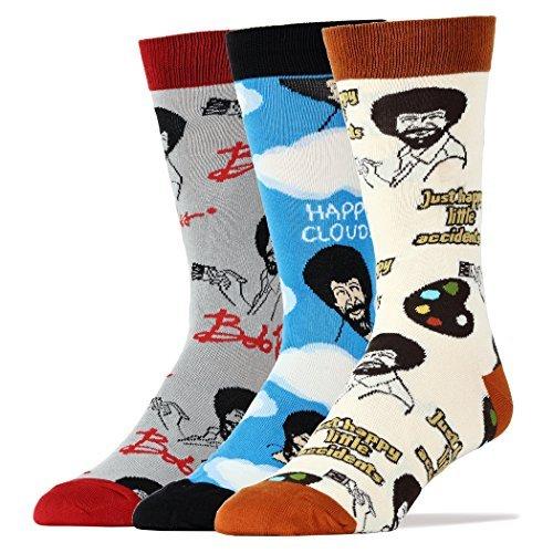 Oooh Yeah Men's Funny Novelty Pack Bob Ross Socks
