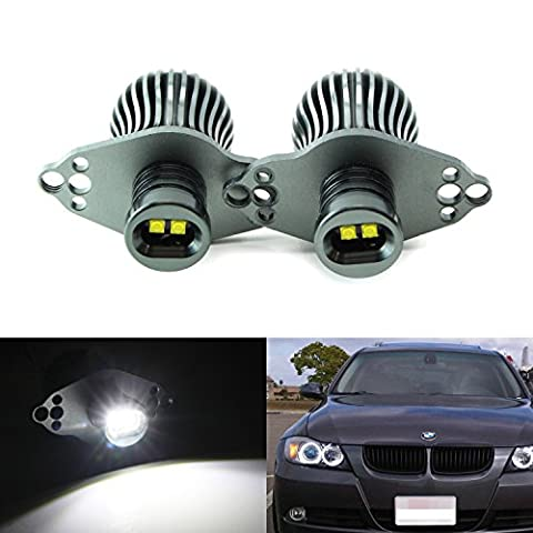 iJDMTOY Xenon White 20W CREE High Power LED BMW Angel Eyes Halo Ring Marker Bulbs For 2006-2008 BMW E90 3 Series w/ HID Xenon Headlights & 2009-2012 BMW 3 Series LCI w/ Standdard Halogen (Bmw Accessories 09 328 E90)
