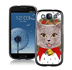 Fashion Style Christmas Decorated Lovely Wreath Cat 10 Black TPU Phone Case For Samsung Galaxy S3,Samsung I9300 Cases