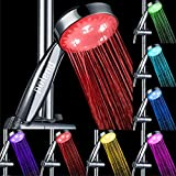 POLEND Rainbow 7 Color Changing LED Light Handheld Showerhead, Bathroom Showerhead, Easy Install, Water Powered (two-year warranty)