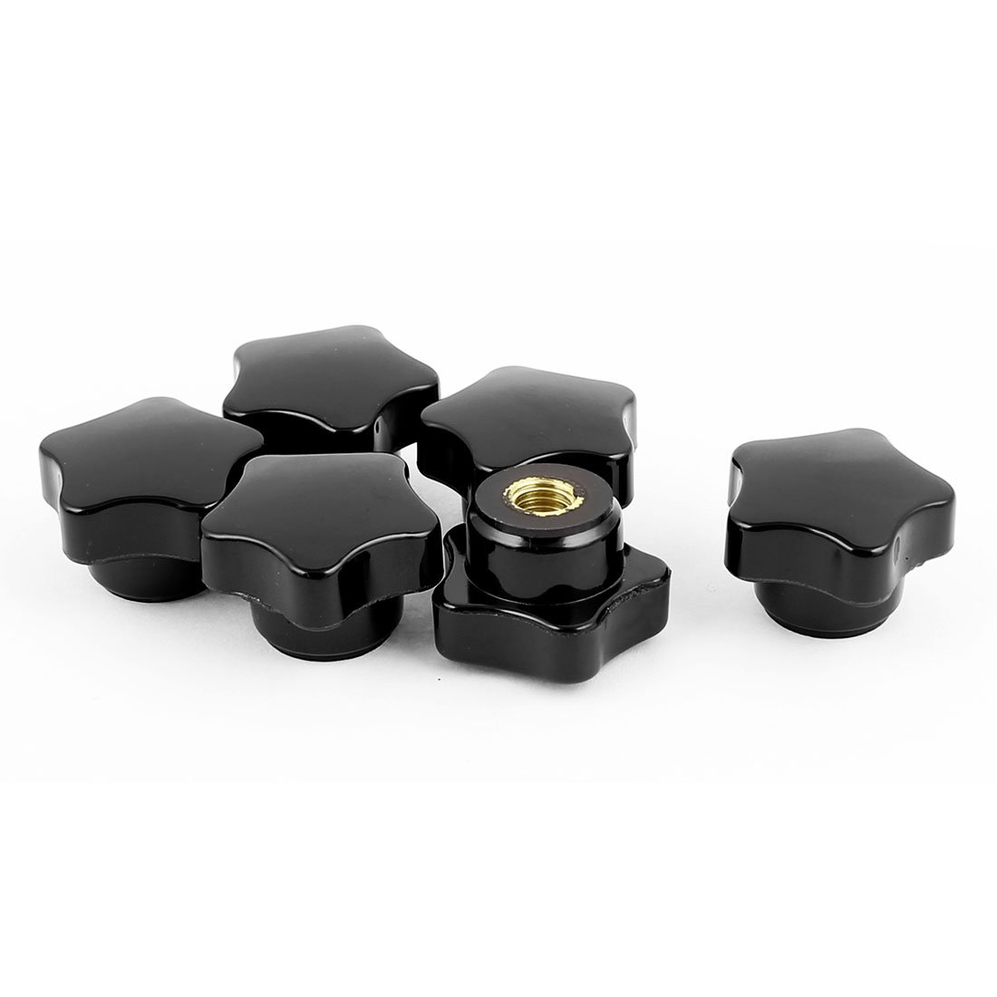 Sourcingmap 6pcs 32mm Dia Star Head M8 Female Thread Nuts Clamping Star Knob Grip Handle Black a16031700ux0156