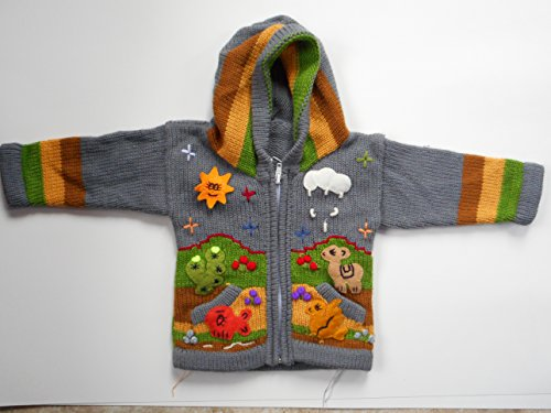 Grey hoodie sweater Peruvian multi-colored hand appliqued 0-1 year (Appliqued Fish)