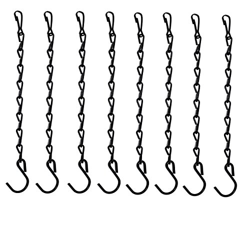 Gray Bunny GB-6877B8 Hanging Chain, 9.5 Inch, 8-Pack, Black, for Bird Feeders, Planters, Fixtures, Lanterns, Suet Baskets, Wind Chimes and More! Outdoor/Indoor Use...