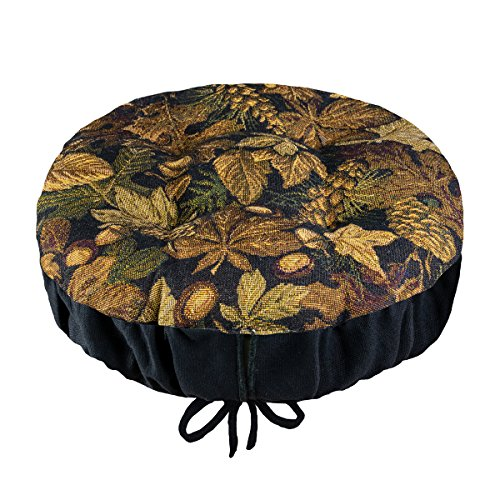Woodlands Forest Floor Round Padded Bar Stool Cover with Adjustable Drawstring Yoke - Size Standard - Latex Foam Fill Barstool Cushion - Made in USA (Lodge/Maple Leaves, Pinecones, ()