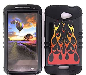 SHOCKPROOF HYBRID CELL PHONE COVER PROTECTOR FACEPLATE HARD CASE AND BLACK SKIN WITH STYLUS PEN. KOOL KASE ROCKER FOR HTC ONE X S720E WILD FIRE FLAME ORANGE RED BLACK BK-TP877