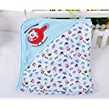 Baby Boy - Baby Blanket - 100% Cotton Baby Blanket - Receiving Blanket - Baby Bath Towels - Hooded Infant Cartoon Swaddling Wrap - Kids - Infants - Toddlers - Soft - Cuddly - Gentle on Baby's Skin - Easy Care - Machine Wash and Dry - Great Shower Gift