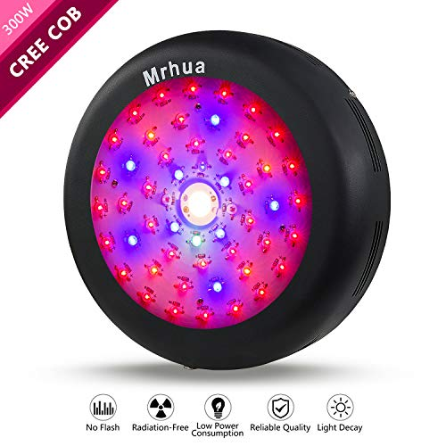 Mrhua 300W LED Grow Light, LED Plant Grow Lights UFO Series Full Spectrum with CREE COB More Higher Par Value for Indoor Plants Hydroponic Greenhouse Veg Bloom Flowering Seedling to Harvest]()