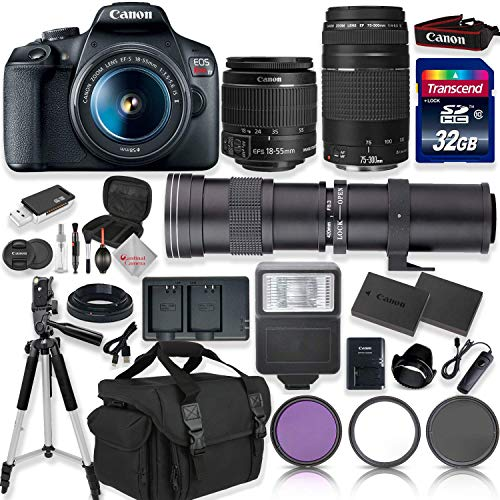 Canon EOS Rebel T7 DSLR Camera with 18-55mm EF-S f/3.5-5.6 is II Lens & EF 75-300mm f/4-5.6 III Lens + 420-800mm Zoom Lens + 32GB High Speed Memory + Camera Bag + Full Accessory Bundle (Best New Canon Dslr)