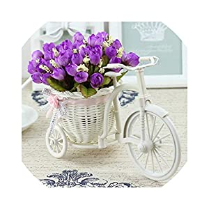 Artificial Fowers Vase Flowers Artificial Silk Flower Basket Set for Home Office Decoration Home Flowers Decoration for Wedding,A Z 18