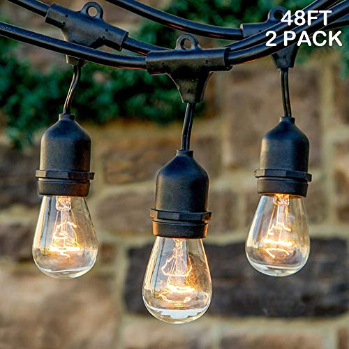 - Twinkle Star 48 ft Outdoor String Lights 15 Bulbs 11 W Patio Lights with 3 Spare Bulbs Waterproof for Porch, Yard, Patio, Garden, Balcony Decoration (2 Pack)