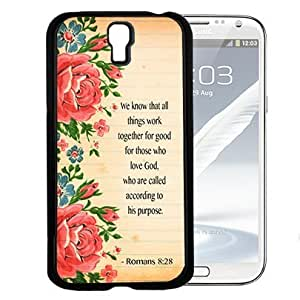 Romans 8:28 Bible Verse on Floral Scrapbook Paper (Samsung Galaxy S4 I9500) Hard Snap on Phone Case Cover by runtopwell