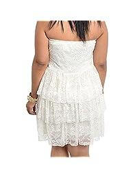 8803 - Plus tamaño sin tirantes niveles de encaje blanco apagado, color marfil boda vestido de cóctel