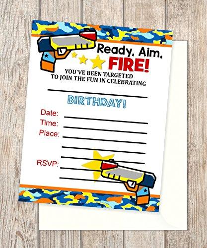 Dart Gun Fill In Blank Invitations, Flat Cards, Set Of 20, Dart Tag Birthday Party Invitations With Envelopes, Flat Card Invitations, 4.25