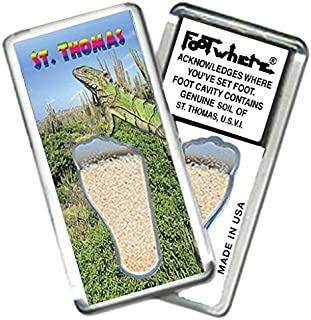 """product image for St. Thomas""""FootWhere"""" Magnet. (StT206 - Iguana). Authentic Destination Souvenir acknowledging Where You've Set Foot. Genuine Soil of Featured Location encased Inside Foot Cavity. Made in USA."""