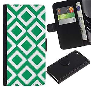 iKiki Tech / Cartera Funda Carcasa - Checkered Vintage Wallpaper Pattern Green - Apple iPhone 5 / 5S