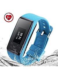 BigBen INCHOR Wristfit HR Bluetooth Touchscreen Smart Wristwatch with Pedometer Heart Rate Track Sleep monitor (Blue)